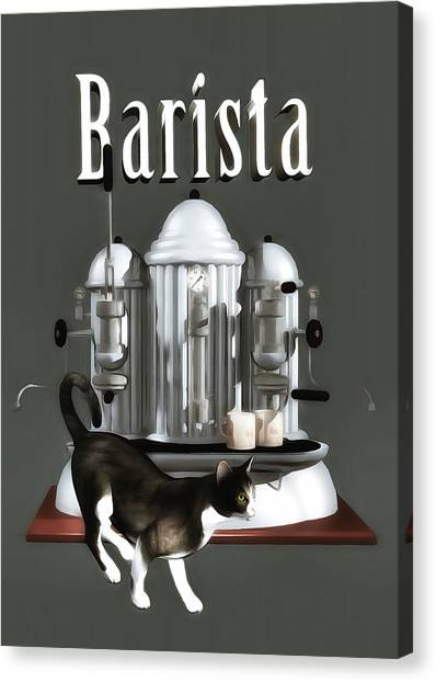 Canvas Print featuring the painting Barista by Jan Keteleer