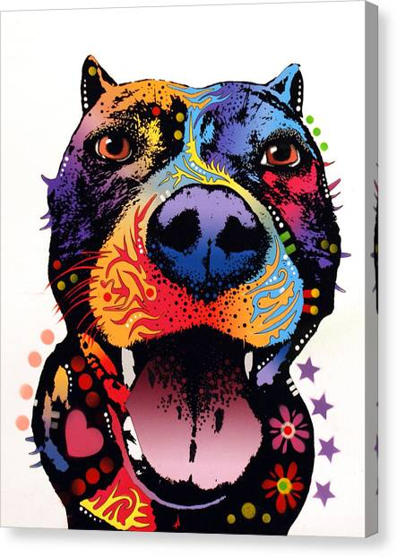Pit Bull Canvas Print - Bark Don't Bite by Dean Russo Art