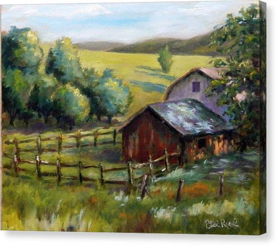 Barn And Field Canvas Print