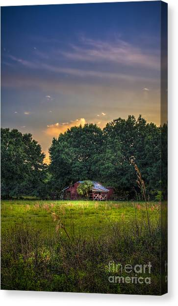 Horse Farms Canvas Print - Barn And Palmetto by Marvin Spates
