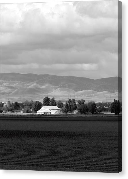 Barn And Plowed Fields Tracy Ca Canvas Print by Troy Montemayor