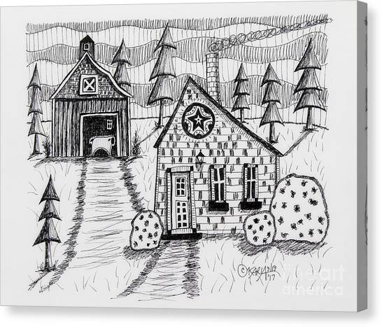 Pen And Ink Drawing Canvas Print - Barn And Sheep by Karla Gerard
