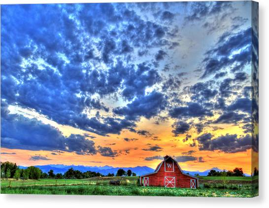 Big West Canvas Print - Barn And Sky by Scott Mahon