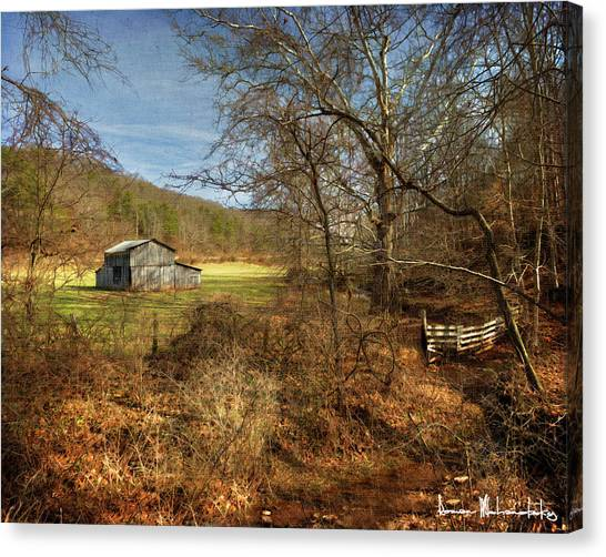Barn And Stream Canvas Print