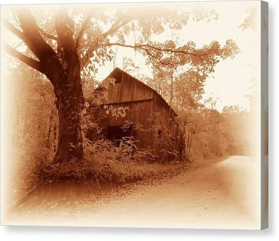 Barn Hocking Co Ohio Sepia Canvas Print