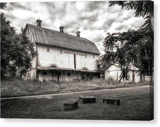 Countryside Canvas Print - Barn In Black And White by Tom Mc Nemar