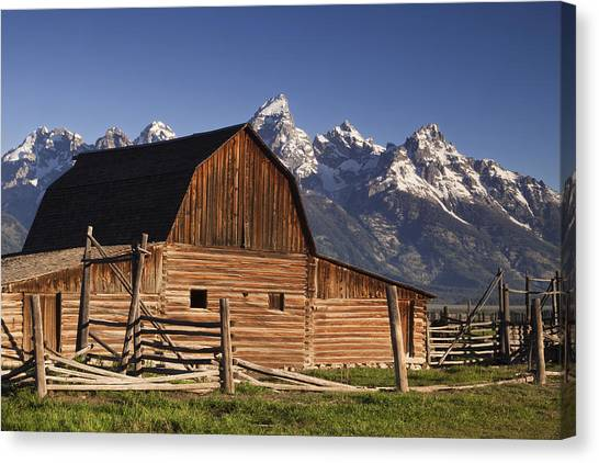 Teton Canvas Print - Barn In The Mountains by Andrew Soundarajan
