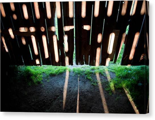 Barn Interior Shadows Canvas Print