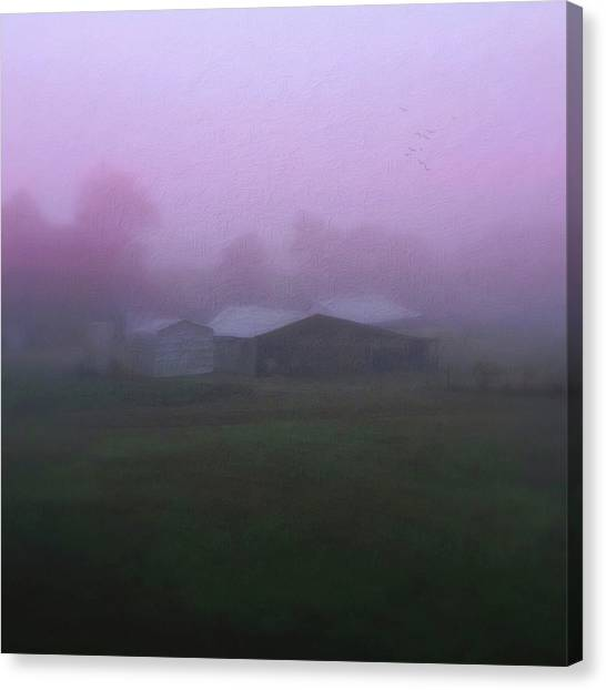 Barn On A Misty Morning Canvas Print