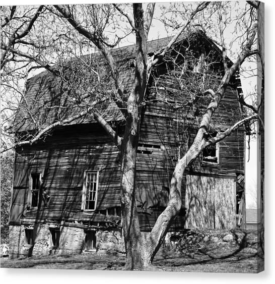 Barn On Stone Foundation Canvas Print