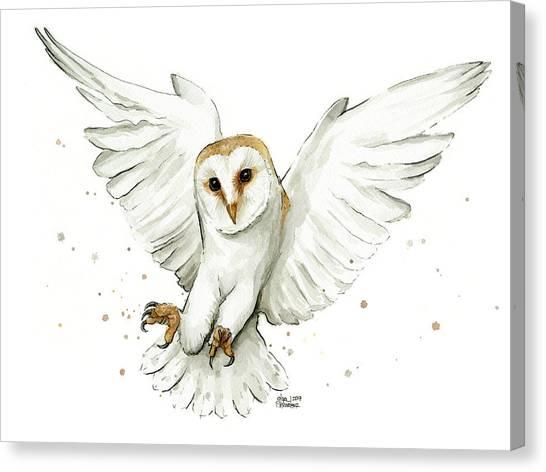 Birds Of Prey Canvas Print - Barn Owl Flying Watercolor by Olga Shvartsur