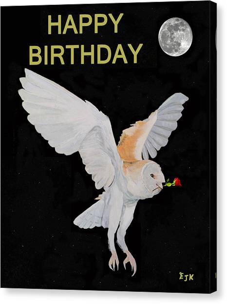 Barn Owl Happy Birthday Canvas Print