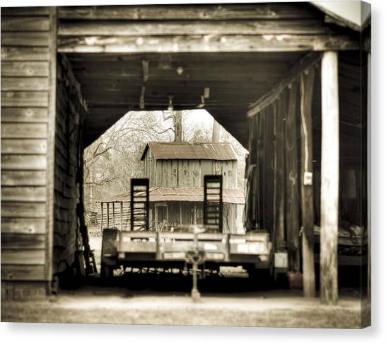 Barn Through A Barn Canvas Print