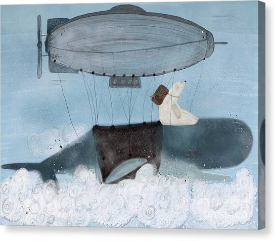 Blue Whales Canvas Print - Barney And The Whale by Bri Buckley