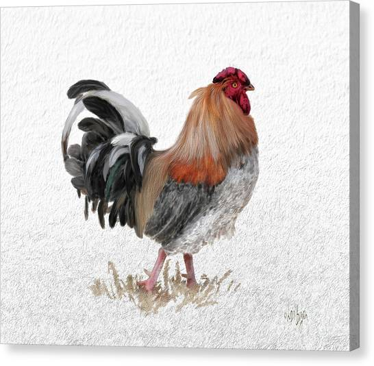 Roosters Canvas Print - Barnyard Boss by Lois Bryan