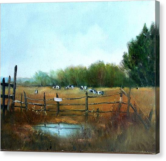 Barnyard Chatter Canvas Print by Sally Seago