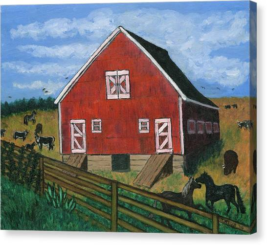 Barnyard On The Prairie Canvas Print by Tanna Lee M Wells