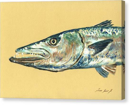 Fishing Canvas Print - Barracuda Fish by Juan  Bosco