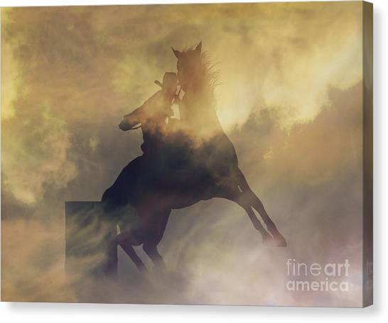 Barrel Racing Canvas Print - Barrel Racer by Stephanie Laird