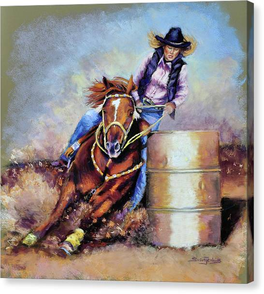 Barrel Racing Canvas Print - Barrel Rider by Susan Jenkins