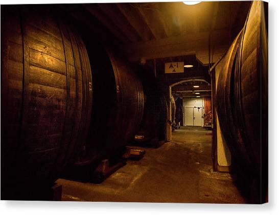 Cellar Canvas Print - Barrels Filled by Jon Glaser