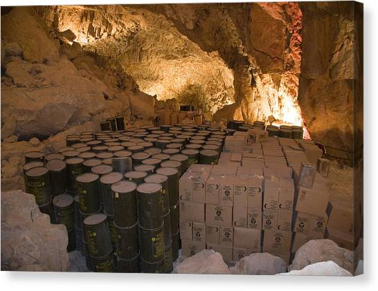 Spelunking Canvas Print - Barrels Of Water And Crates Of Food by Taylor S. Kennedy