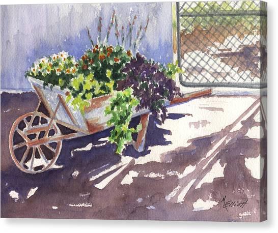Wheelbarrow Canvas Print - Barrow by Marsha Elliott