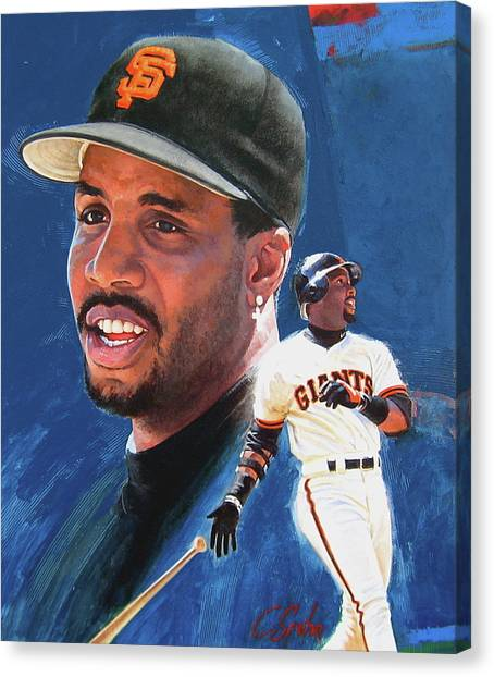 Barry Bonds Canvas Print - Barry Bonds In The Shadow by Cliff Spohn