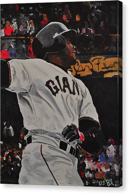 Barry Bonds Canvas Print - Barry Bonds Record Home Run  by Ruben Barbosa