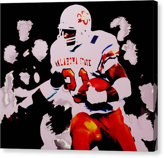 Oklahoma State University Canvas Print - Barry Sanders Breaking Loose by Brian Reaves