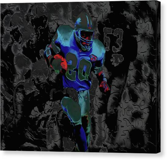 Barry Sanders Canvas Print - Barry Sanders Breaking Out 4c by Brian Reaves