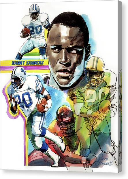 Barry Sanders Canvas Print - Barry Sanders by Dave Oconnell