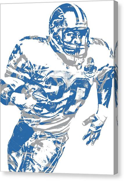 Barry Sanders Canvas Print - Barry Sanders Detroit Lions Pixel Art 1 by Joe Hamilton