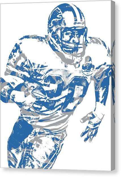 Barry Sanders Canvas Print - Barry Sanders Detroit Lions Pixel Art 1 by Joe Hamilton
