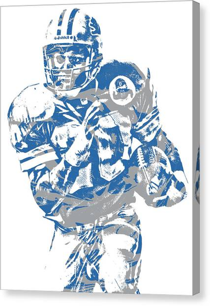 Barry Sanders Canvas Print - Barry Sanders Detroit Lions Pixel Art 2 by Joe Hamilton