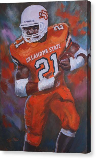 Barry Sanders Canvas Print - Barry Sanders, Oklahoma State by Nora Sallows