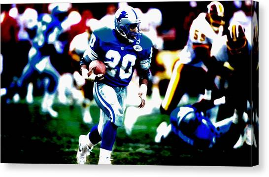 Jerry Rice Canvas Print - Barry Sanders On The Move by Brian Reaves