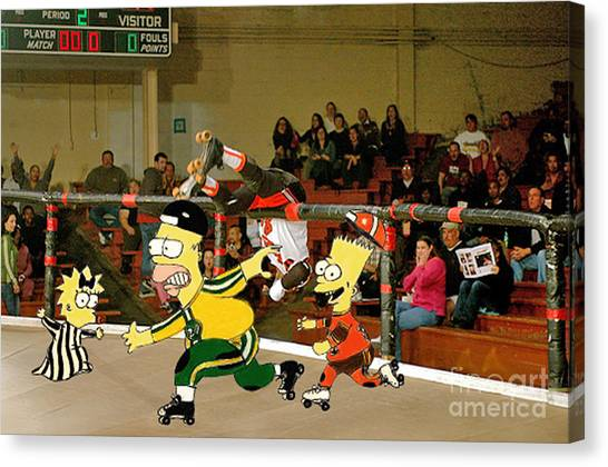 Bart Vs Homer Simpson At The Roller Derby Canvas Print