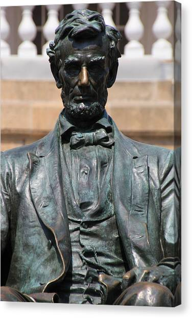 University Of Wisconsin - Madison Canvas Print - Bascom Hill Lincoln Statue by Douglas Ransom