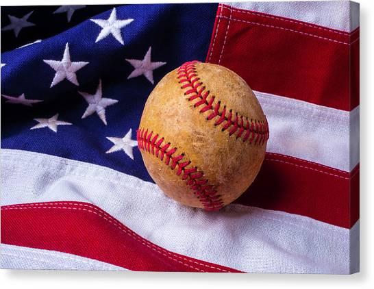 Gay Flag Canvas Print - Baseball And American Flag by Garry Gay