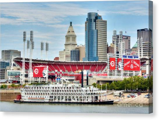 Baseball And Boats In Cincinnati Canvas Print