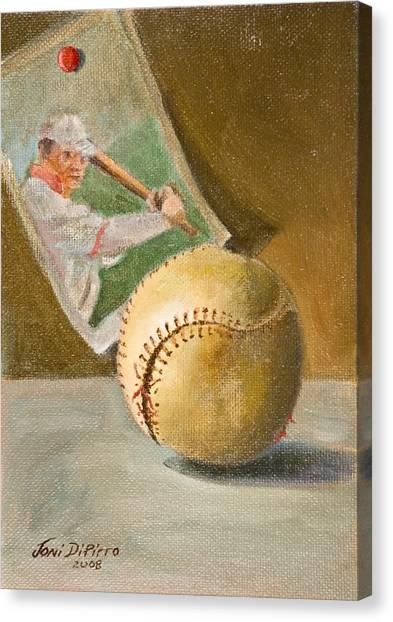Baseball And Card Canvas Print by Joni Dipirro
