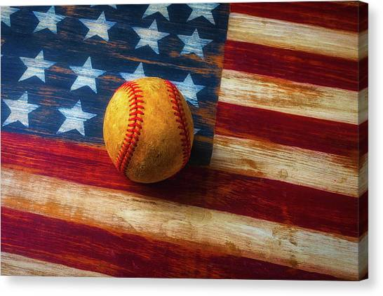 Gay Flag Canvas Print - Baseball And Folk Art Flag by Garry Gay