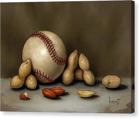 Baseball Canvas Print - Baseball And Penuts by Clinton Hobart