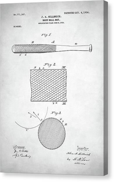 Joe Dimaggio Canvas Print - Baseball Bat Patent by Zapista