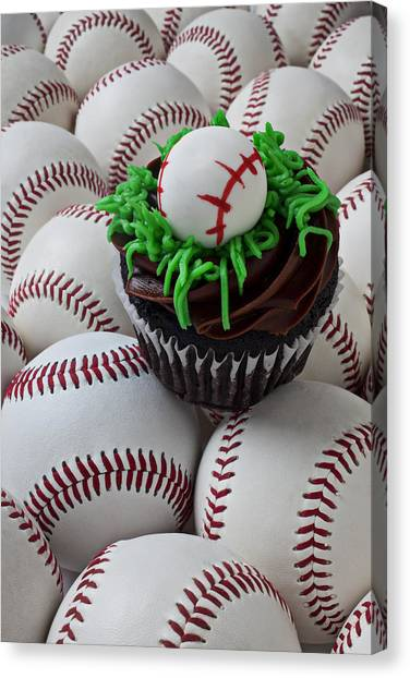 Frosting Canvas Print - Baseball Cupcake by Garry Gay