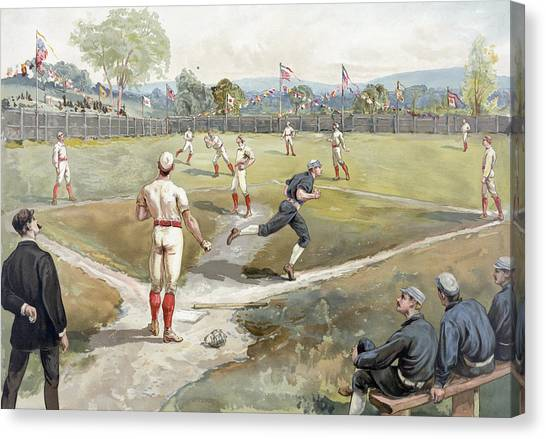 Old Pitcher Canvas Print - Baseball Game by Unknown