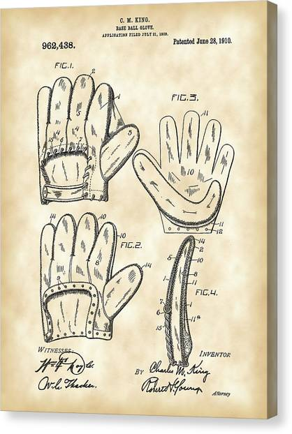 Fast Ball Canvas Print - Baseball Glove Patent 1909 - Vintage by Stephen Younts