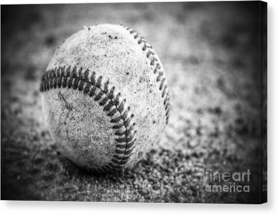 Baseball In Black And White Canvas Print