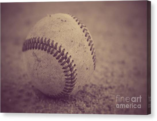 Baseball In Sepia Canvas Print